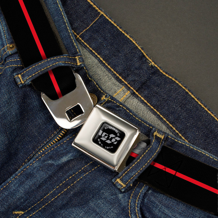 Dodge 100th Anniversary Logo Brushed Silver Black Seatbelt Belt - Dodge 100th Anniversary Logo/Stripe Black/Red Webbing