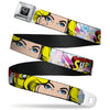 Superman Black Silver Seatbelt Belt - SUPERGIRL w/Face CLOSE-UP Webbing