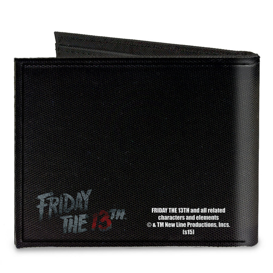 Canvas Bi-Fold Wallet - Jason Mask3 CLOSE-UP + FRIDAY THE 13th Black Grays Red