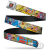 Tom and Jerry Logo Full Color Black Red Seatbelt Belt - TOM & JERRY Faces/Stacked Scene Panels Webbing