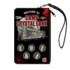 Canvas Zipper Wallet - SMALL - Friday the 13th WELCOME TO CAMP CRYSTAL LAKE Jason Cabin Badges Black Grays Reds
