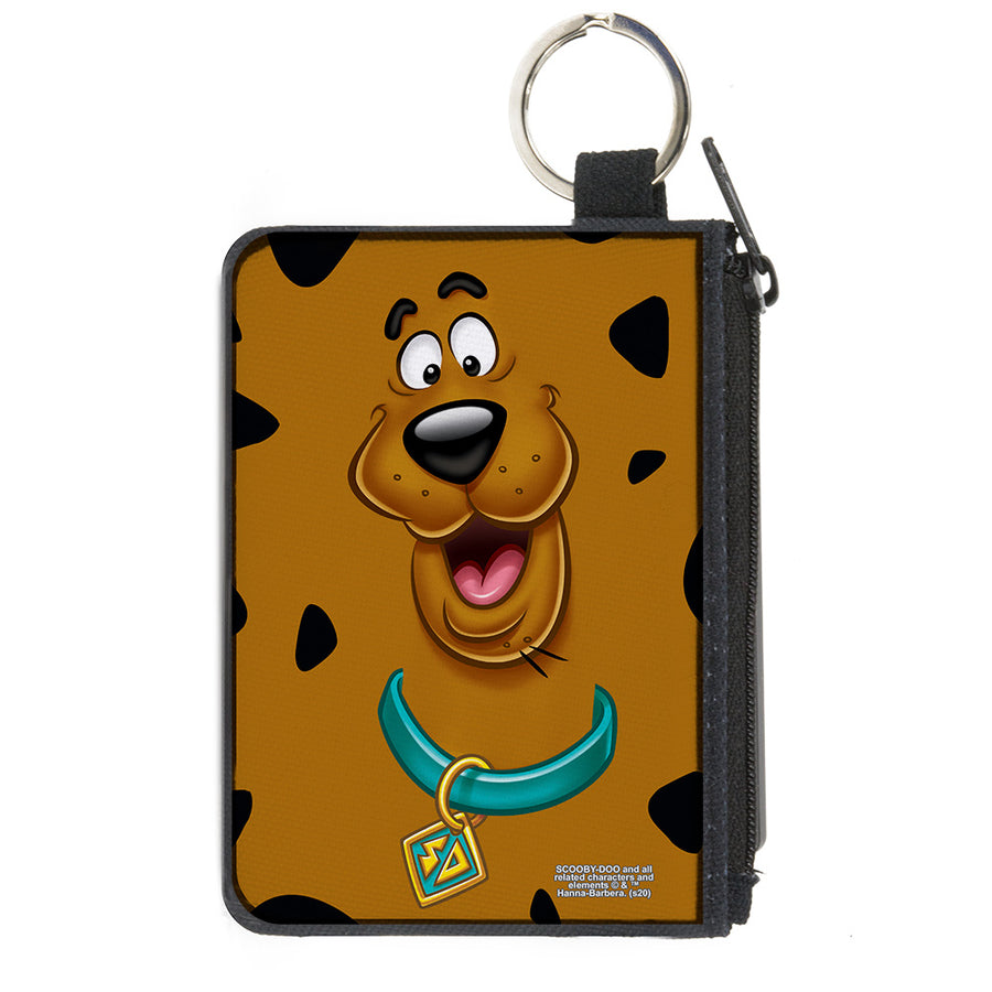Canvas Zipper Wallet - MINI X-SMALL - Scooby Doo Smiling Face Spots Brown Black