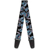 Guitar Strap - Stitch Poses Hibiscus Sketch Black Gray Blue