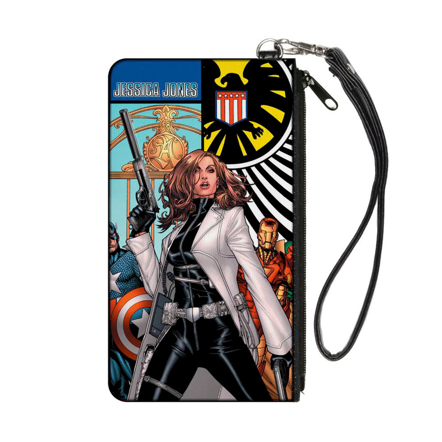 MARVEL UNIVERSE Canvas Zipper Wallet - SMALL - What If Jessica Jones Had Joined the Avengers? Issue #1 Cover Pose SHIELD Logo