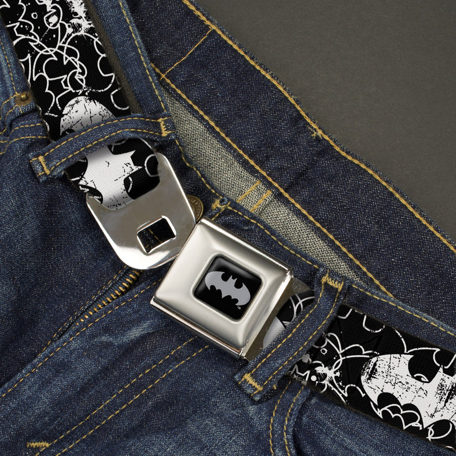 Batman Black Silver Seatbelt Belt - Batman Outlines Black/White Webbing
