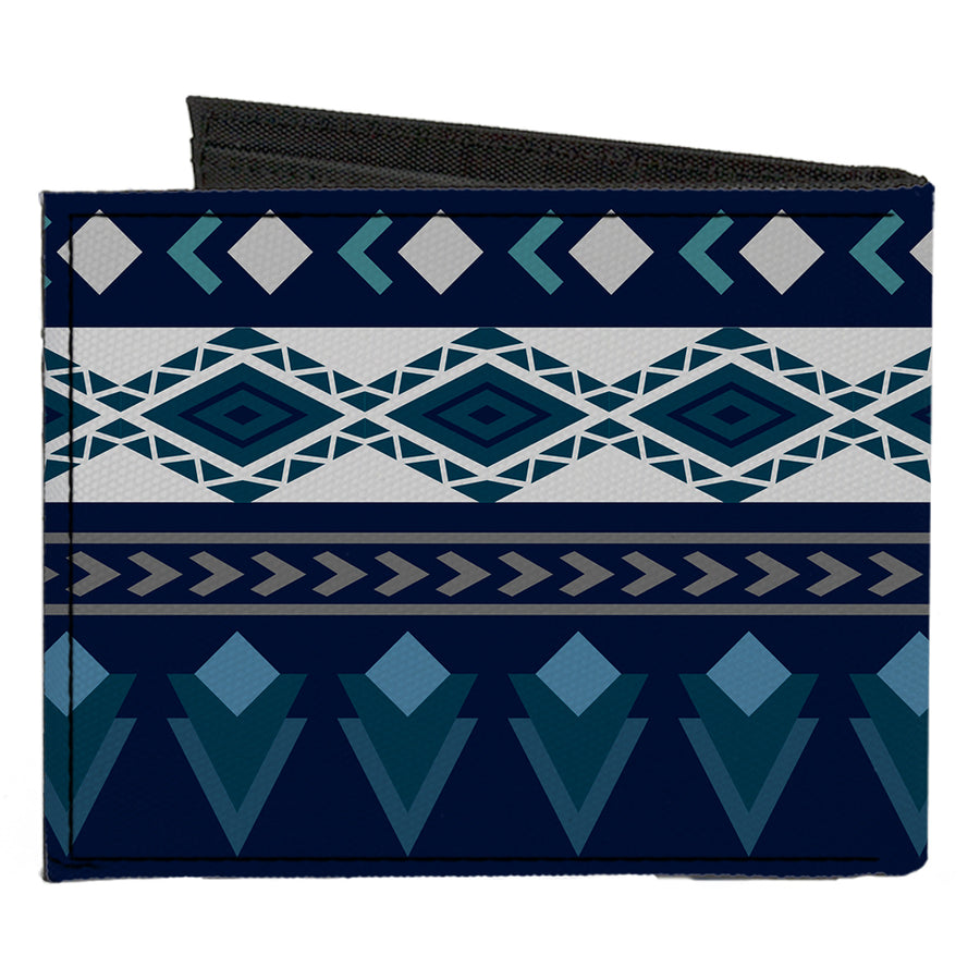 Canvas Bi-Fold Wallet - Aztec4 Blues White Gray