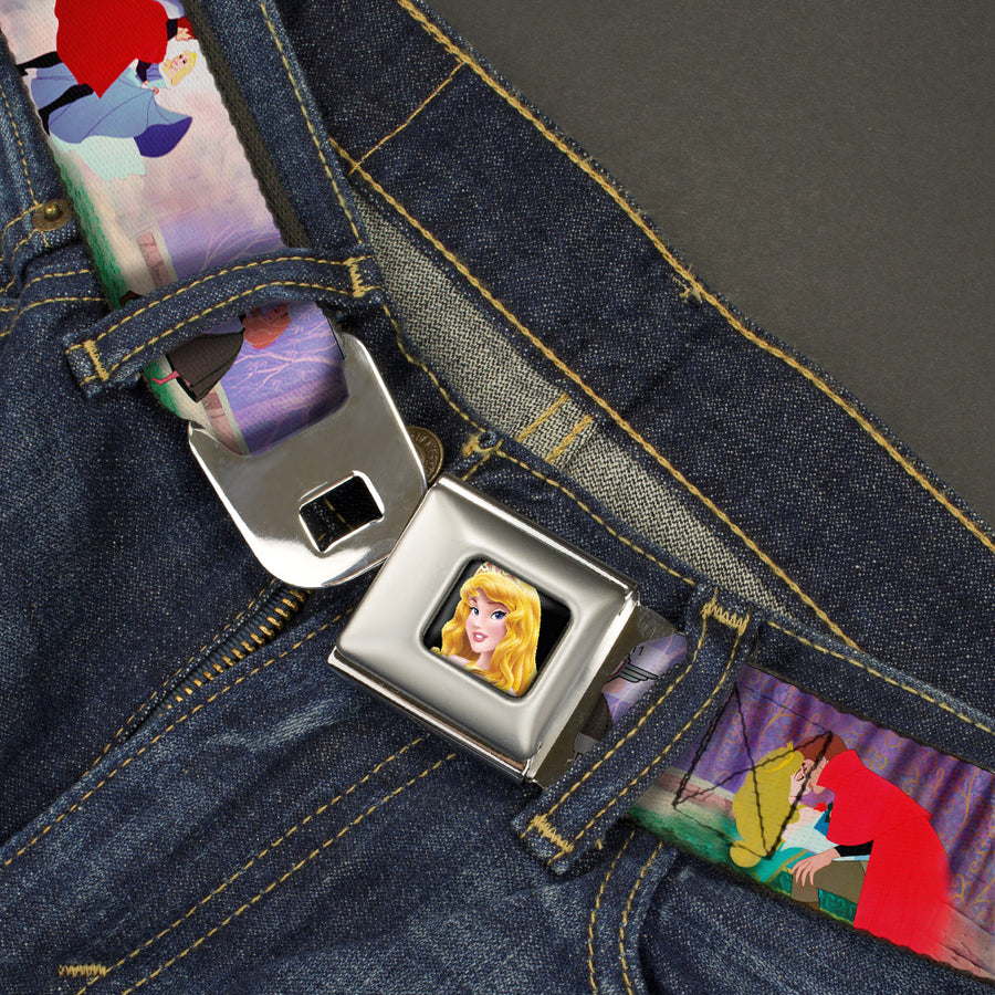 Sleeping Beauty Princess Aurora Full Color Seatbelt Belt - Sleeping Beauty & Prince Scenes Webbing