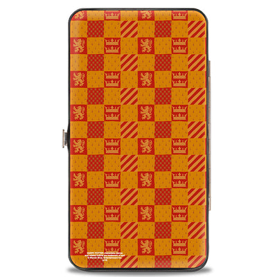 Hinged Wallet - Harry Potter GRYFFINDOR Crest Heraldry Checkers Golds Reds