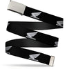 Chrome Buckle Web Belt - HONDA Motorcycle Logo Black/White Webbing