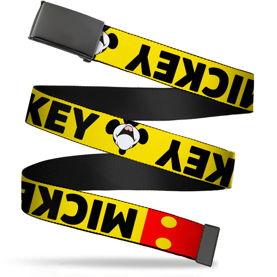 Black Buckle Web Belt - MICKEY Smiling Up Pose Flip/Buttons Yellow/Black/Red Webbing
