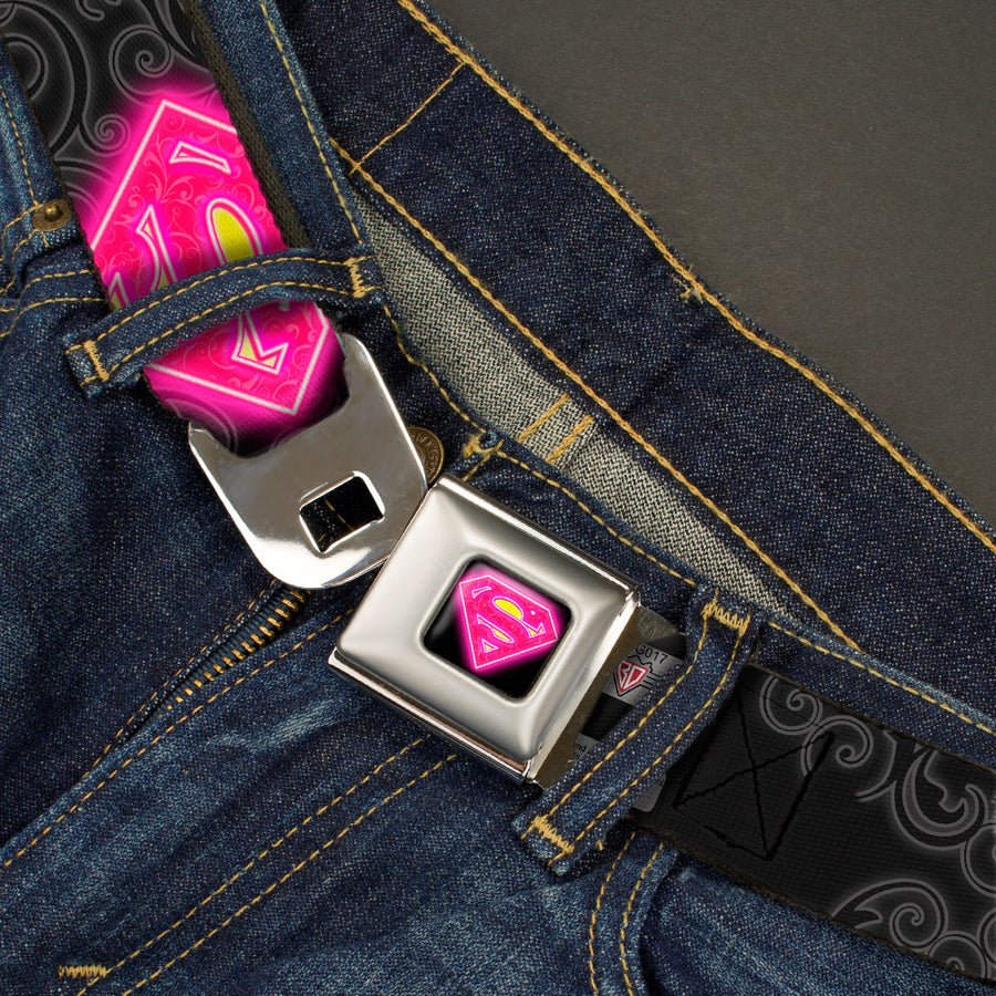 Electric Supergirl Shield Full Color Black Hot Pink Yellow Seatbelt Belt - Electric Supergirl Shield/Swirl Black/Gray/Hot Pink/Yellow Webbing