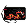 Canvas Zipper Wallet - LARGE - Mulan Mushu Dragon Pose Fire Icon Black Gray