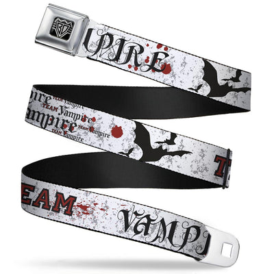 BD Wings Logo CLOSE-UP Full Color Black Silver Seatbelt Belt - Team Vampire Webbing