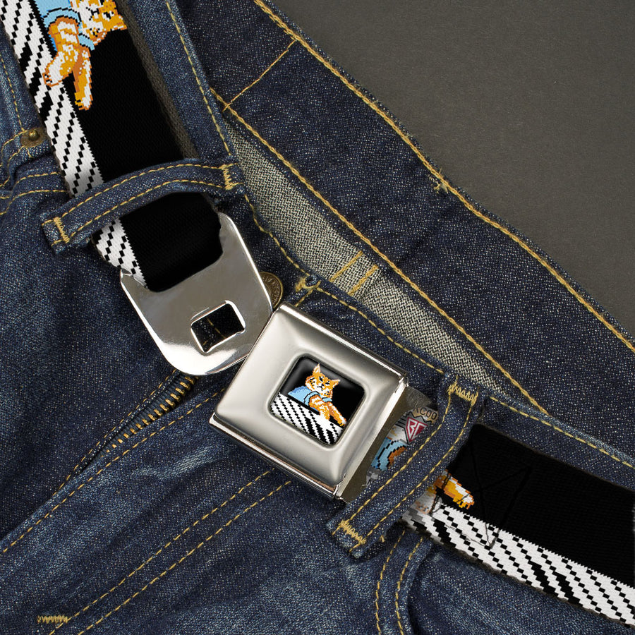 8-Bit Keyboard Cat Playing Pose Full Color Black Seatbelt Belt - PLAY ME OFF, KEYBOARD CAT Black/White Webbing