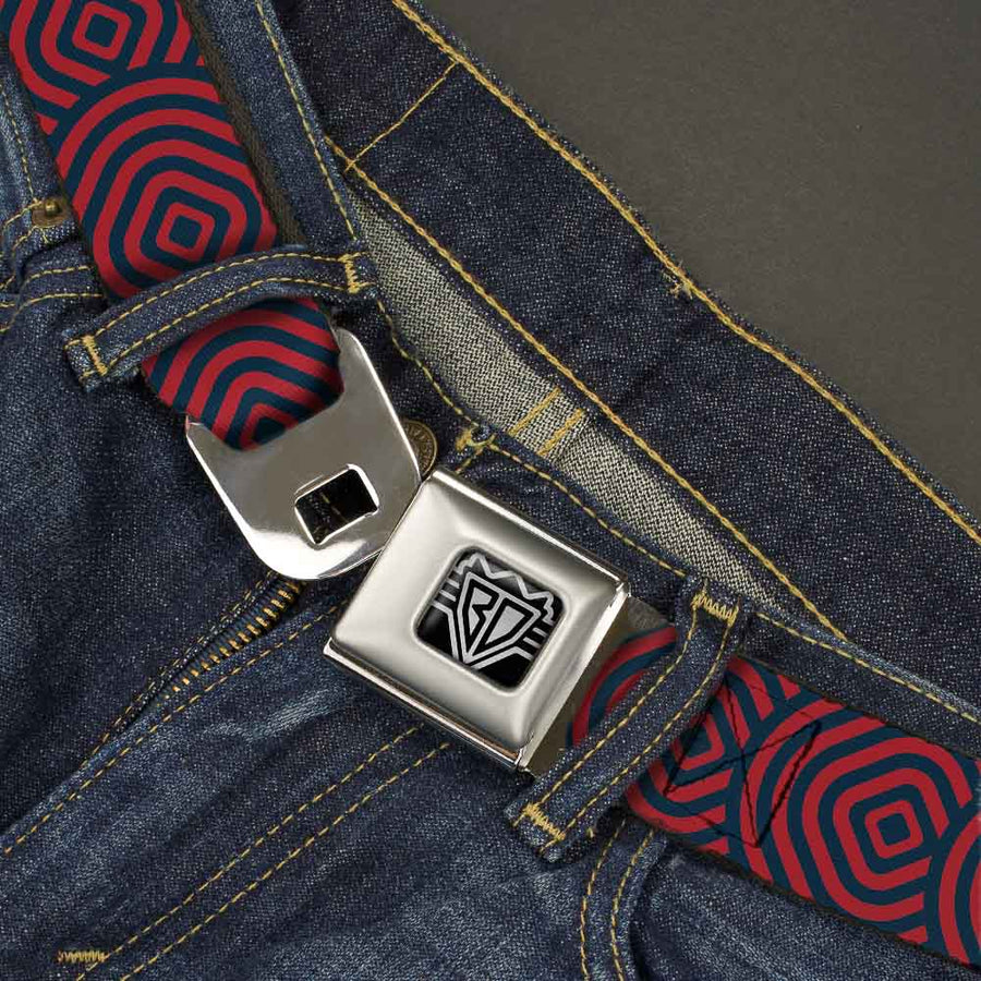 BD Wings Logo CLOSE-UP Full Color Black Silver Seatbelt Belt - Square Target Red/Navy Webbing