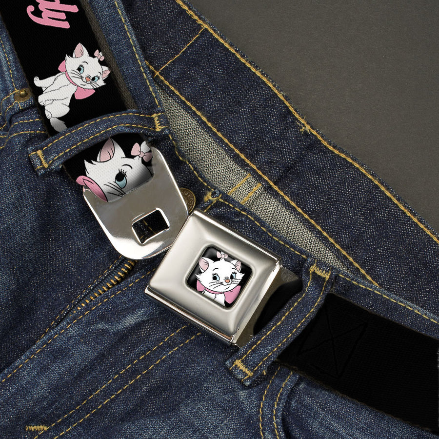 Aristocats Marie Face Full Color Black Seatbelt Belt - Aristocats Marie 3-Poses BECAUSE I'M A LADY THAT'S WHY Black/White/Pink Webbing