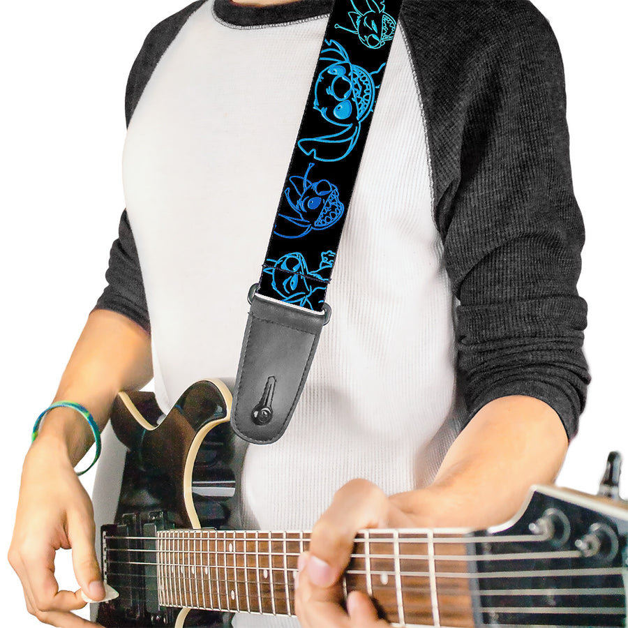 Guitar Strap - Electric Stitch Poses Black Neon Blue