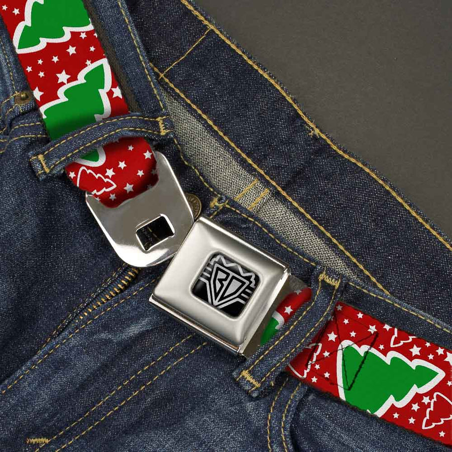 BD Wings Logo CLOSE-UP Full Color Black Silver Seatbelt Belt - Christmas Trees/Stars Red/White/Green Webbing