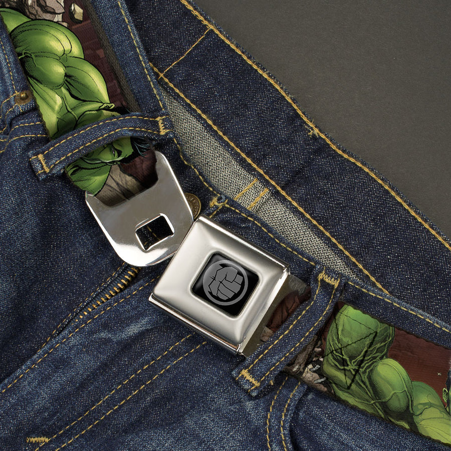 MARVEL AVENGERS Hulk Avengers Icon Black Silver Seatbelt Belt - The Totally Awesome Hulk 3-Action Poses/Stones Browns Webbing