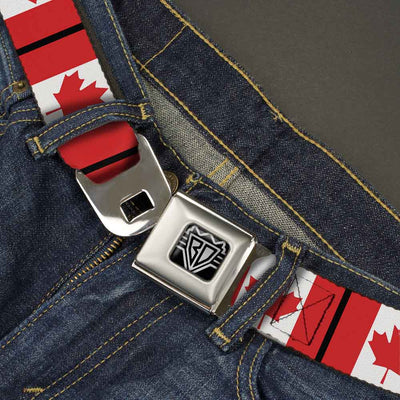 BD Wings Logo CLOSE-UP Full Color Black Silver Seatbelt Belt - Canada Flags Webbing