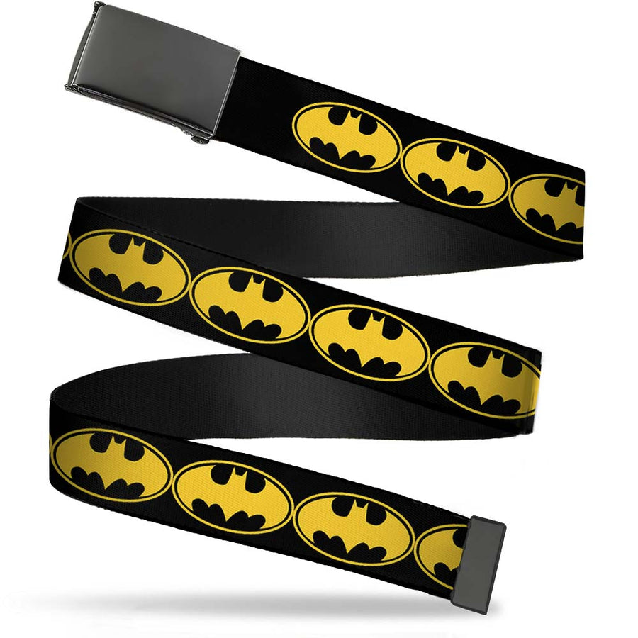 Black Buckle Web Belt - Bat Signal-3 Black/Yellow/Black Webbing