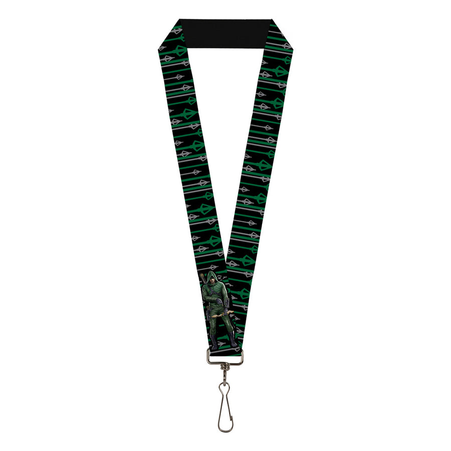 "Lanyard - 1.0"" - Arrow Bow Pose Arrow Tips Black Green Gray"