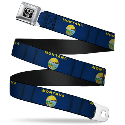 BD Wings Logo CLOSE-UP Full Color Black Silver Seatbelt Belt - Montana Flags Webbing