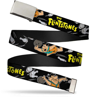 Chrome Buckle Web Belt - THE FLINTSTONES Fred Bowling Poses/Bowling Pins Black Webbing