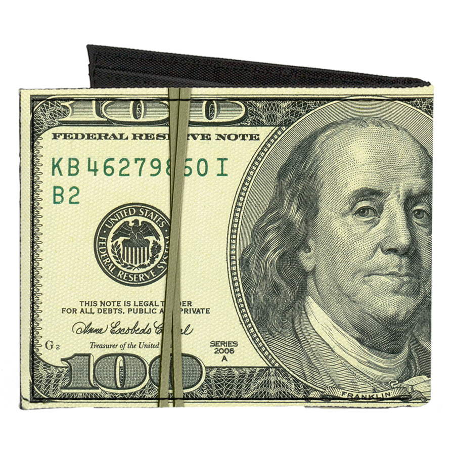 Canvas Bi-Fold Wallet - 100 Dollar Bill Series 2006 w Rubberband