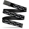 Black Buckle Web Belt - Batman Shield Black/Silver Webbing