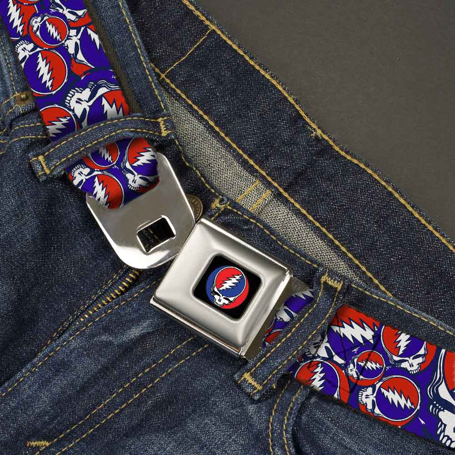 Steal Your Face Seatbelt Belt - Steal Your Face Stacked Red/White/Blue Webbing