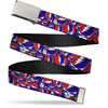 Chrome Buckle Web Belt - Steal Your Face Stacked Red/White/Blue Webbing