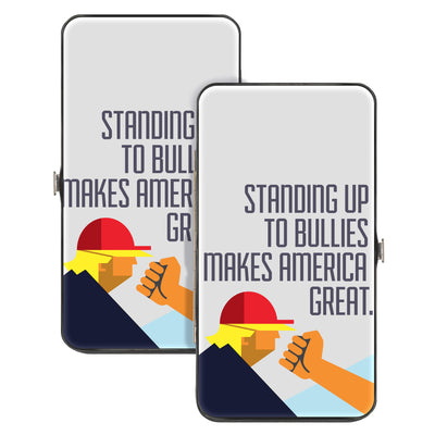 Hinged Wallet - STANDING UP TO BULLIES MAKES AMERICA GREAT Profile Fist White Multi Color