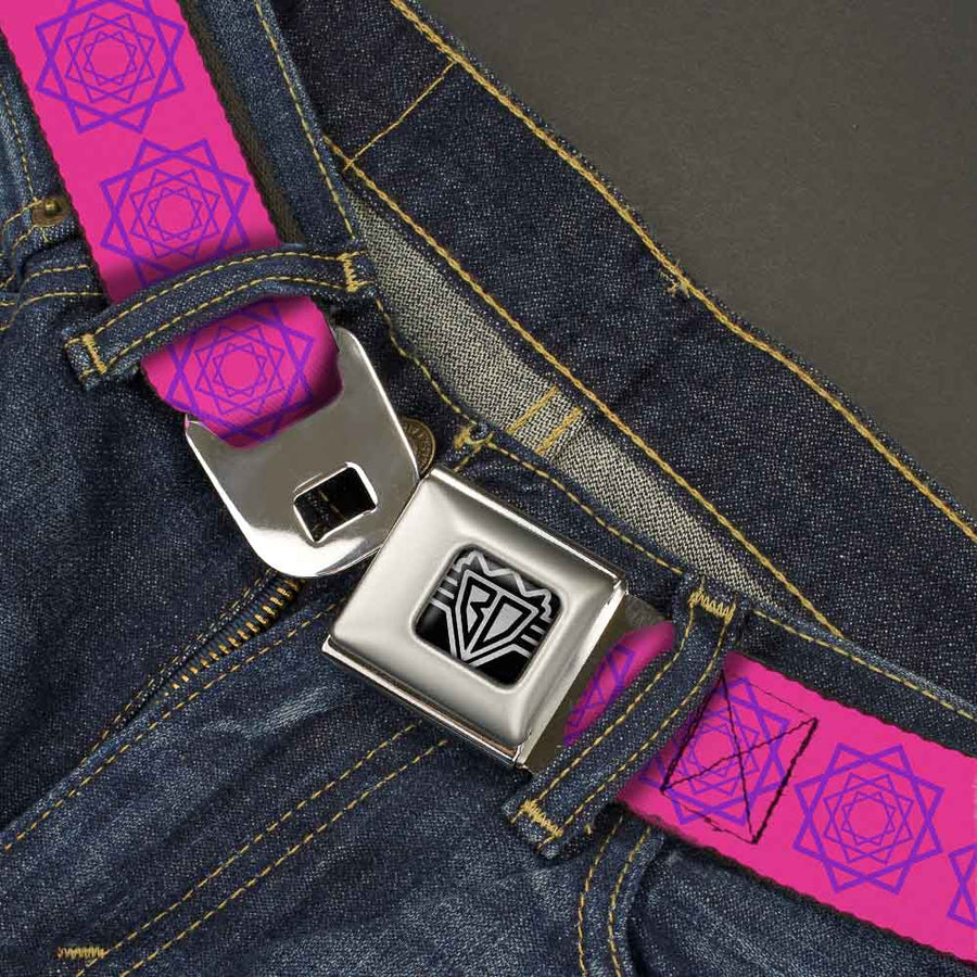BD Wings Logo CLOSE-UP Full Color Black Silver Seatbelt Belt - Rotating Squares Pink/Purple Webbing