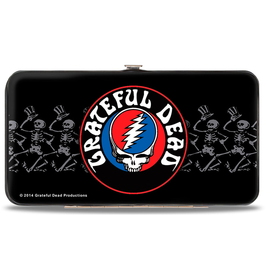 Hinged Wallet - GRATEFUL DEAD Steal Your Face Logo Dancing Skeletons Black Gray Red White Blue