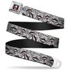 THE BIG BANG THEORY Full Color Black White Red Seatbelt Belt - Soft Kitty Mustacho Stacked Webbing