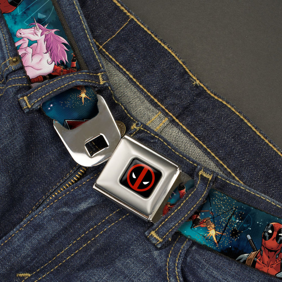 Deadpool Logo Full Color Black/Red/White Seatbelt Belt - DEADPOOL Riding Charging Unicorn/Shrug Pose Galaxy Blues Webbing