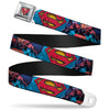 Superman Shield Weathered Full Color Blue Red Yellow Seatbelt Belt - Superman Unchained Under Sea Pose/Shield Blues/Gray/Red/Yellow Webbing