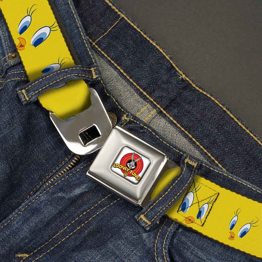 Looney Tunes Logo Full Color White Seatbelt Belt - Tweety Bird Expressions2 Webbing