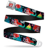 Ariel Face Full Color Turquoise Seatbelt Belt - Ariel Underwater Poses/Palace Silhouette Webbing