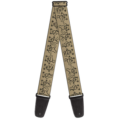 Guitar Strap - Dancing Bears Tan Black