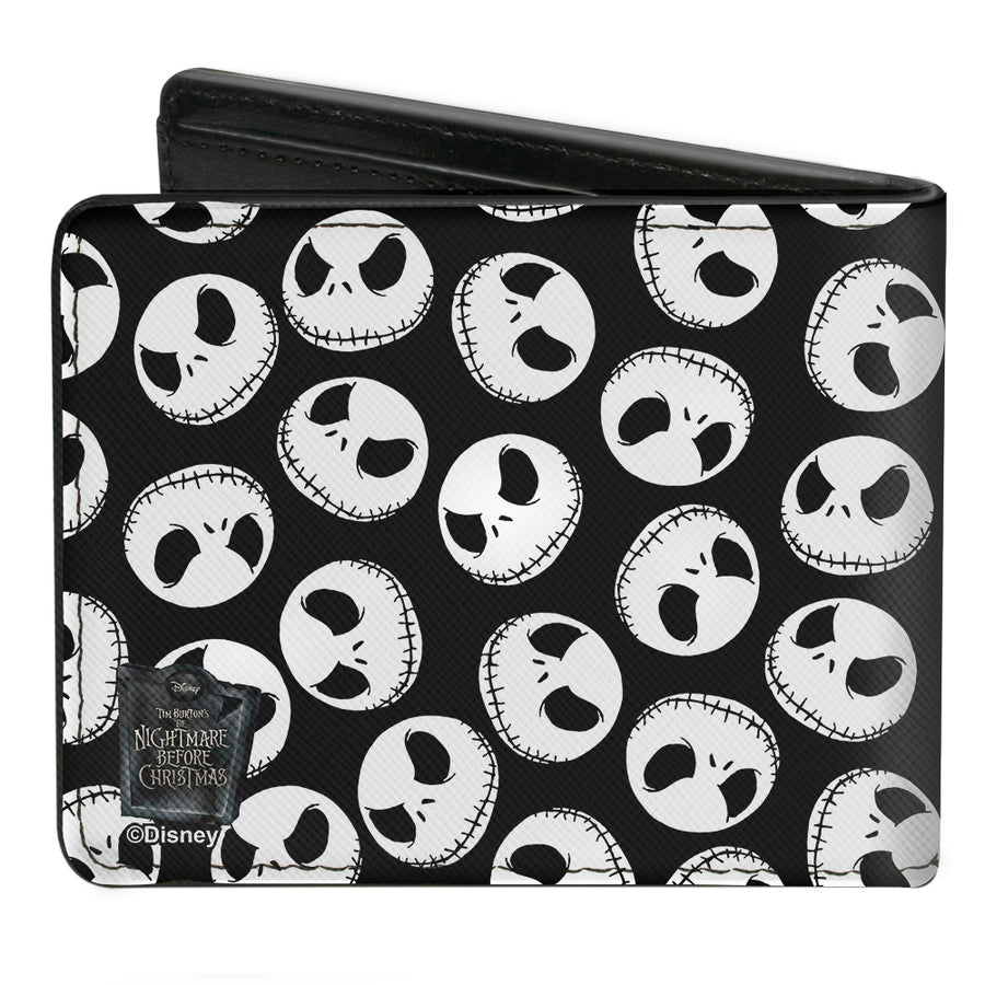 Bi-Fold Wallet - Nightmare Before Christmas Jack Expression3 Scattered Black White