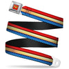 Wonder Woman Logo Full Color Red Seatbelt Belt - Wonder Woman Stripe/Stars Red/Gold/Blue/White Webbing