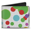 Bi-Fold Wallet - Dots Grid2 White Gray Multi Color