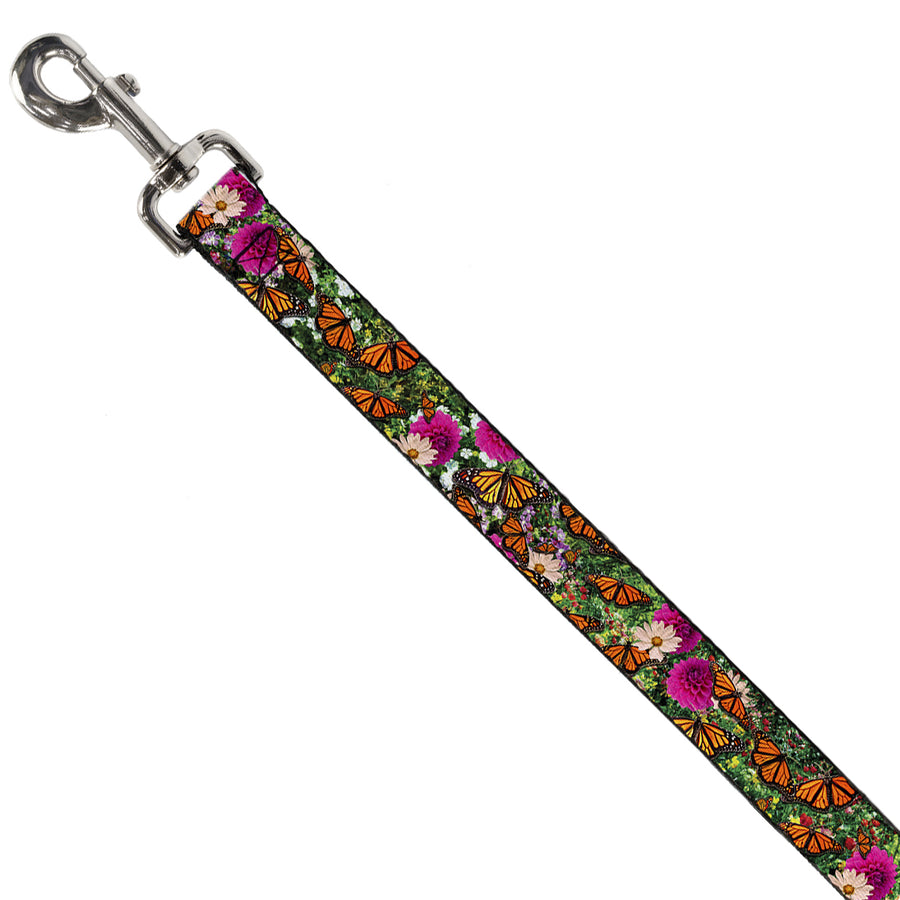 Dog Leash - Vivid Monarch Butterfly Garden