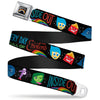 INSIDE OUT Rainbow Full Color Black White Multi Color Seatbelt Belt - INSIDE OUT/Emotion Expressions/EVERY DAY IS FULL OF EMOTIONS Webbing