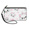 Canvas Zipper Wallet - LARGE - Aristocats Marie Expressions Hearts Scattered White Pink