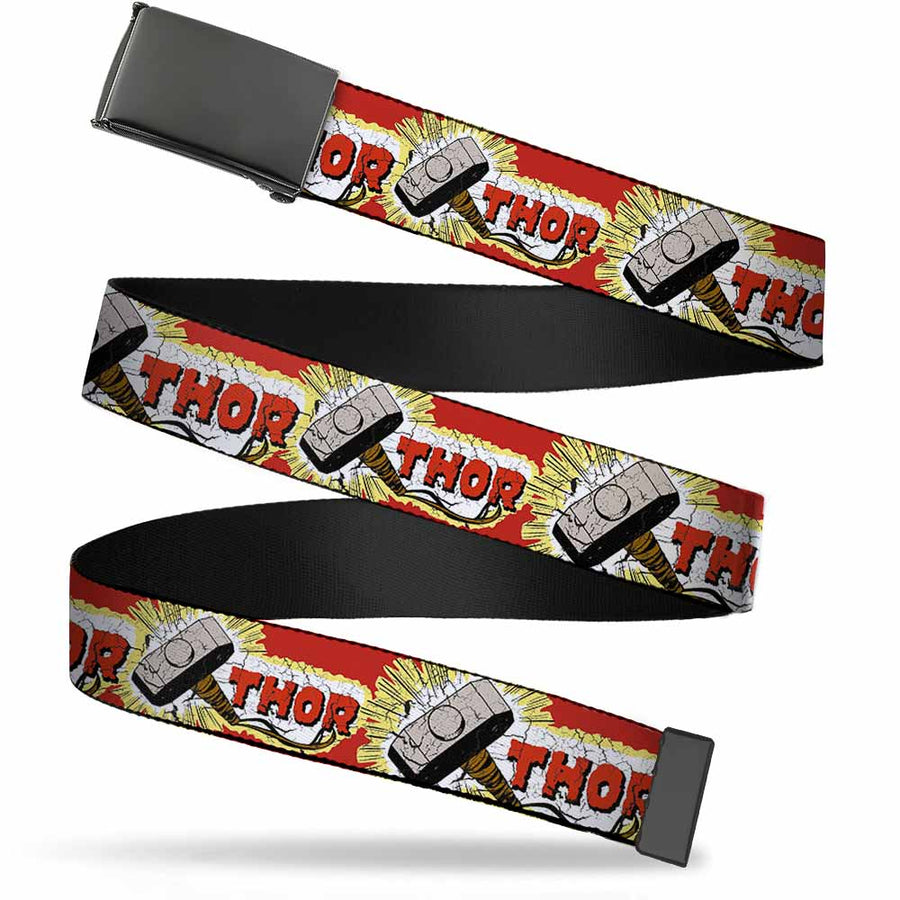 Black Buckle Web Belt - THOR & Hammer Red/Yellow/White Webbing