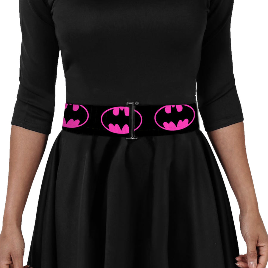 Cinch Waist Belt - Batman Shield-2 Black Fuchsia