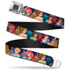 Princess Jewels Full Color Black Multi Color Seatbelt Belt - Disney Princess Poses/Castle Silhouettes Purples/Multi Color Webbing